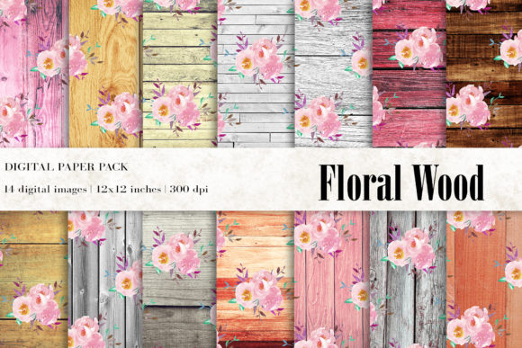 Floral Wood Digital Papers, Rustic Wood Graphic Textures By BonaDesigns