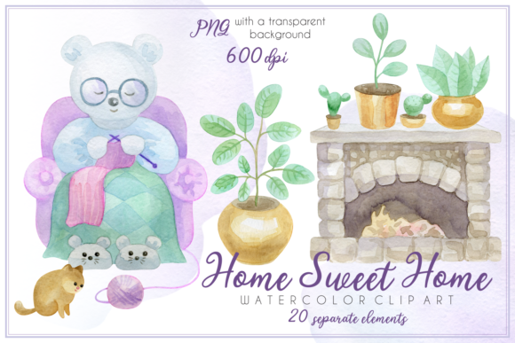 Download Free Home Sweet Home Watercolor Clip Art Graphic By Olga Belova for Cricut Explore, Silhouette and other cutting machines.