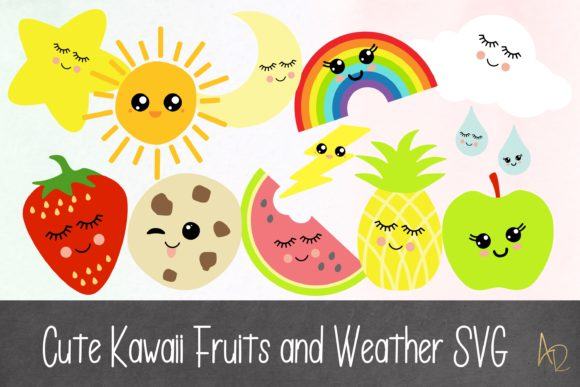 Kawaii Fuit And Weather Bundle Graphic By Anayah S Room