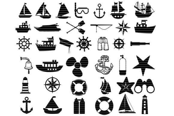 Print on Demand: Nautical Silhouette Clip Art Bundle Graphic Crafts By MeshaArts