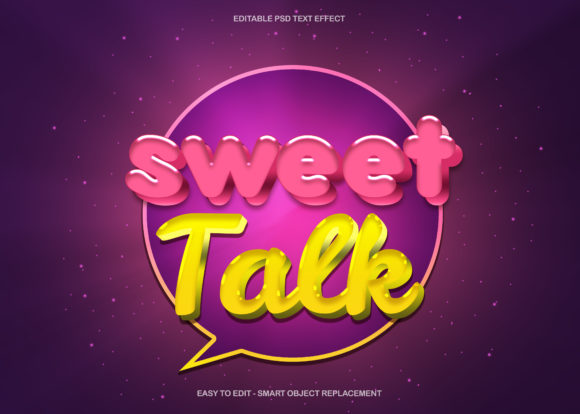 Sweet Talk Podcast Text Effect Graphic Graphic Templates By knou