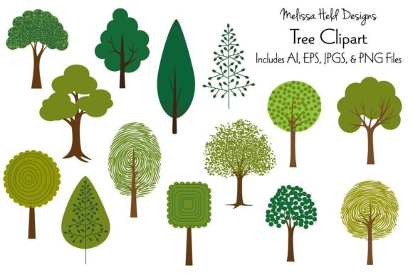 Tree Clipart Graphic Illustrations By Melissa Held Designs
