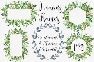 Watercolor Leaves Frames Clip Art Graphic Illustrations By PinkPearly