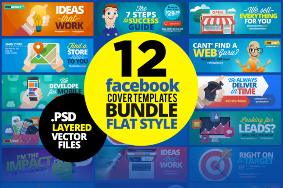 Print on Demand: 12 Facebook Covers Bundle - Flat Style Graphic Websites By asaelvaras