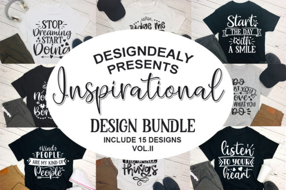Print on Demand: 15 Inspirational Quotes Bundle Vol-II Graphic Print Templates By Designdealy.com