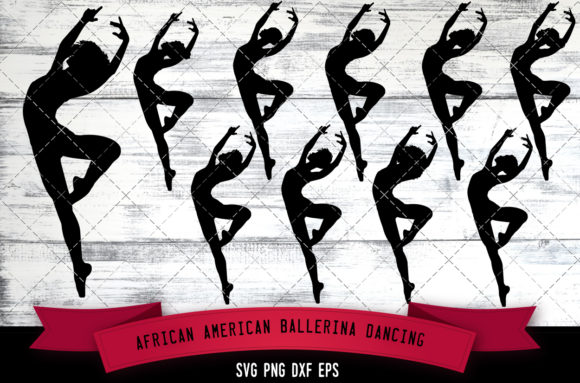 Download Free African American Ballerina Dancing Graphic By for Cricut Explore, Silhouette and other cutting machines.