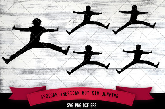 Download Free African American Boy Kid Jumping Graphic By for Cricut Explore, Silhouette and other cutting machines.