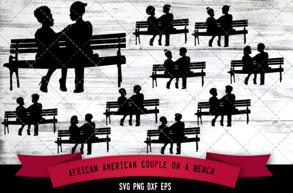 Download Free African American Couple On A Bench Graphic By for Cricut Explore, Silhouette and other cutting machines.