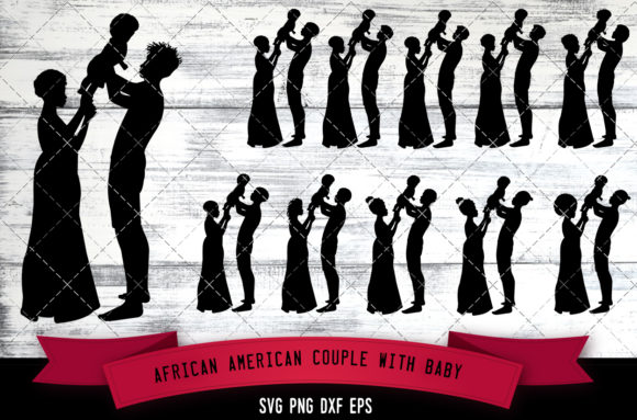 Download Free African American Couple With Baby Graphic By for Cricut Explore, Silhouette and other cutting machines.