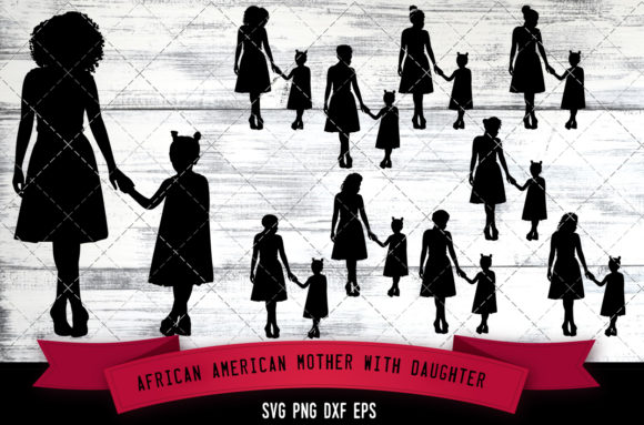Download Free African American Mother With Daughter Graphic By for Cricut Explore, Silhouette and other cutting machines.