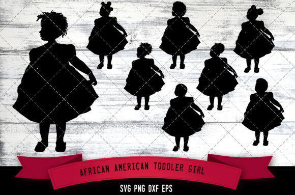 Download Free African American Toddler Girl Graphic By Thesilhouettequeenshop for Cricut Explore, Silhouette and other cutting machines.