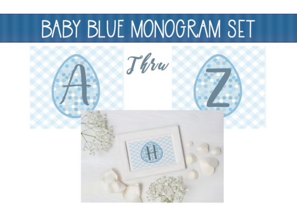 Print on Demand: Baby Blue Monogram Alphabet Graphic Illustrations By capeairforce