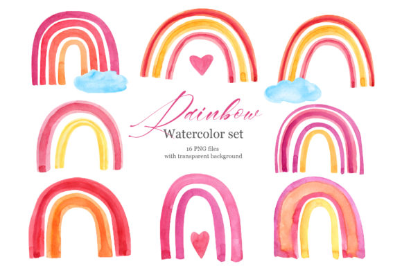 Baby Rainbow Watercolor Clipart  Set Graphic Illustrations By lena-dorosh