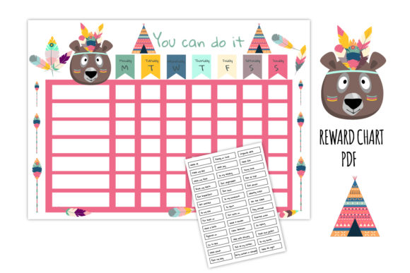 Download Free Kids Reward Chart Giraffe Chore Chart Graphic By Igraphic for Cricut Explore, Silhouette and other cutting machines.