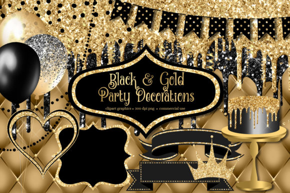 Print on Demand: Black and Gold Party Decorations Clipart Graphic Illustrations By Digital Curio - Image 1
