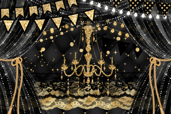 Print on Demand: Black and Gold Party Decorations Clipart Graphic Illustrations By Digital Curio - Image 2