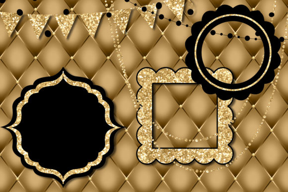 Print on Demand: Black and Gold Party Decorations Clipart Graphic Illustrations By Digital Curio - Image 4