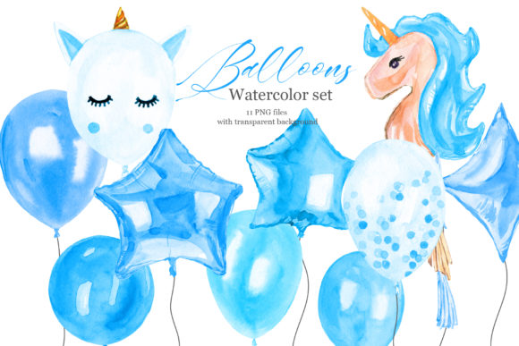 Blue Balloons Watercolor Clipart Graphic Illustrations By lena-dorosh