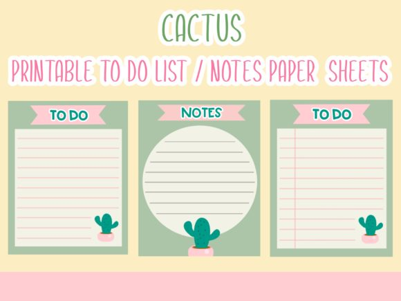 Cactus Printable to Do List/Notes Sheets Graphic Illustrations By Happy Kiddos