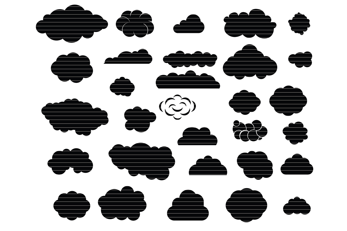 Download Free Clouds Silhouette Clip Art Bundle Graphic By Meshaarts for Cricut Explore, Silhouette and other cutting machines.
