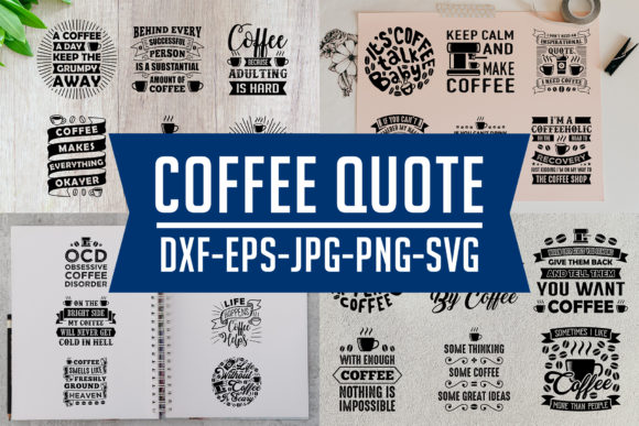 Print on Demand: Coffee Quotes V9 Black Graphic Print Templates By Tosca Digital
