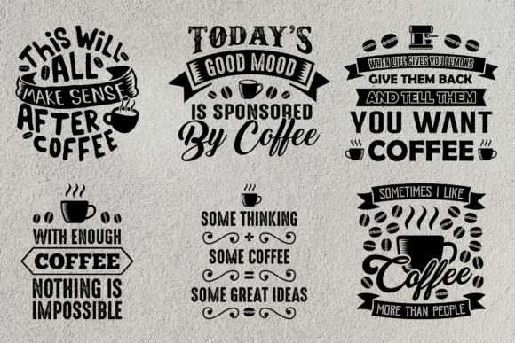Print on Demand: Coffee Quotes V9 Black Graphic Print Templates By Tosca Digital - Image 5