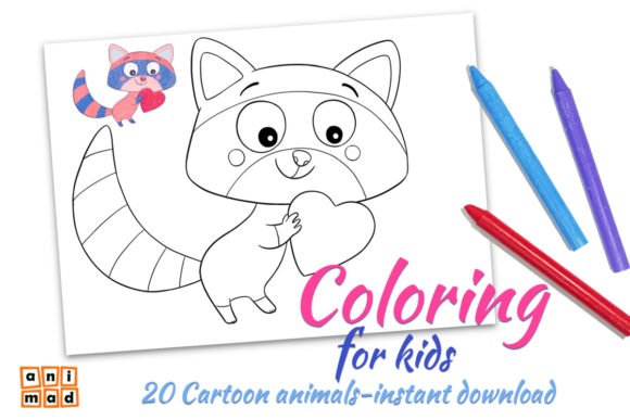 Coloring Cartoon Animals Graphic Coloring Pages & Books Kids By AnimadDesign