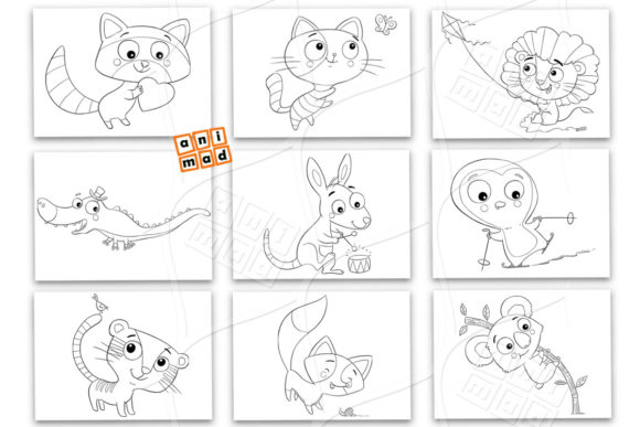 Download Free Coloring Cartoon Animals Graphic By Animaddesign Creative Fabrica SVG Cut Files
