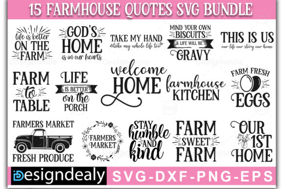 Download Free Farmhouse Bundle Graphic By Designdealy Com Creative Fabrica for Cricut Explore, Silhouette and other cutting machines.