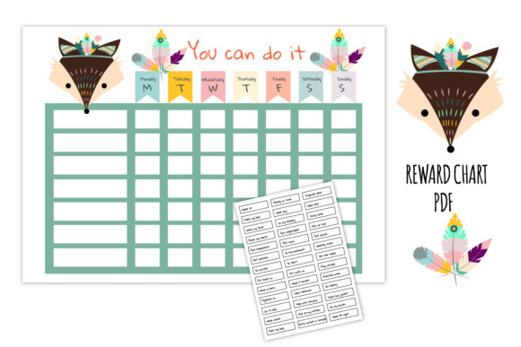 Fox Reward Chart, Tribal Graphic Graphic Print Templates By Igraphic Studio