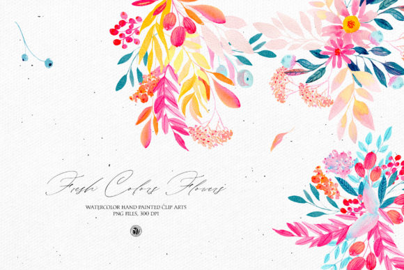Print on Demand: Fresh Colors Flowers Graphic Illustrations By webvilla