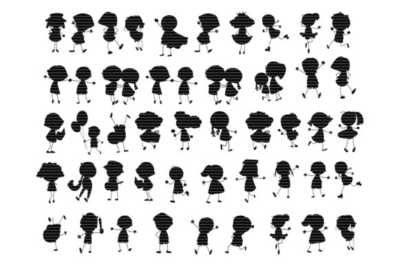 Print on Demand: Kids Silhouette Clip Art Bundle Graphic Crafts By MeshaArts