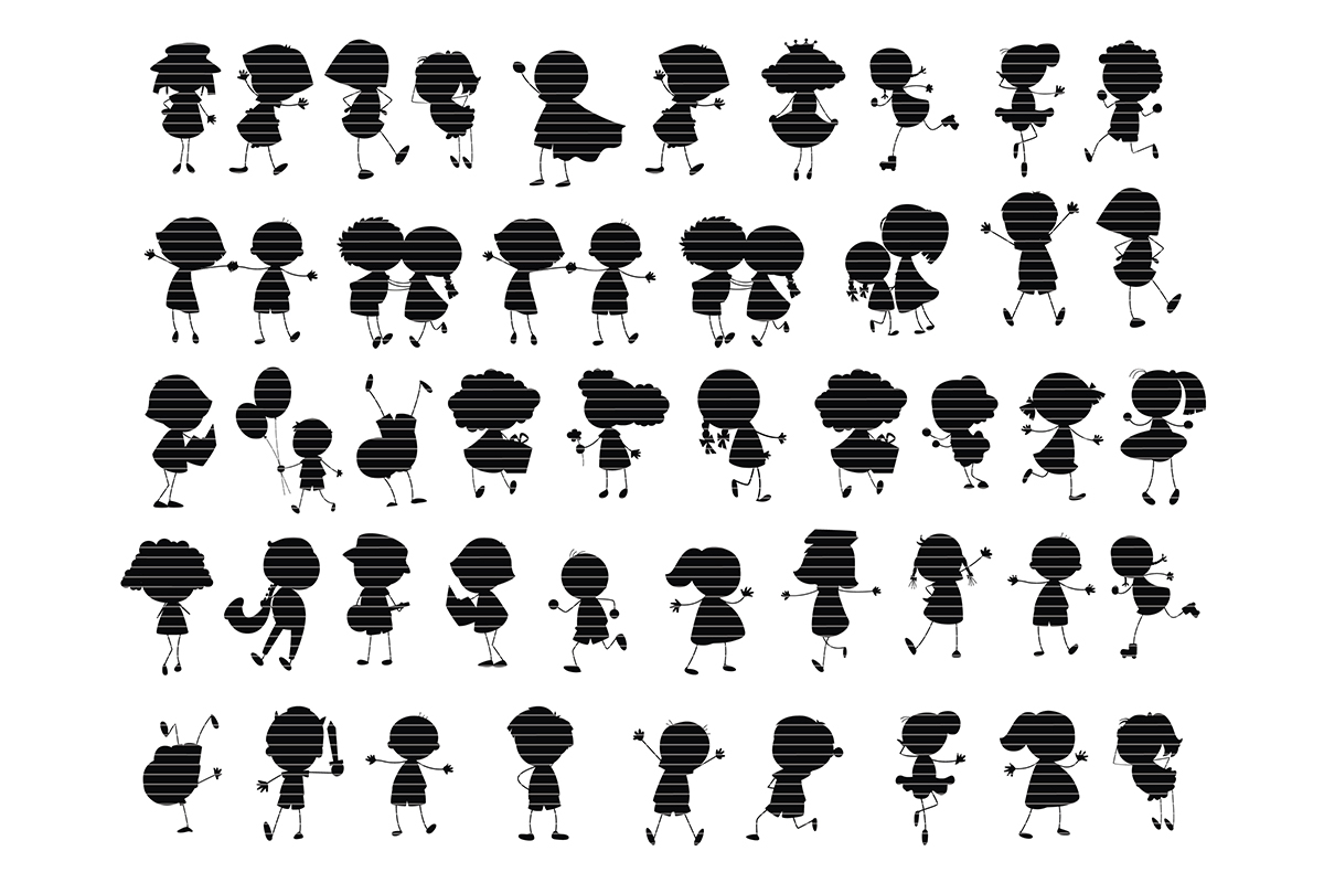 Download Free Kids Silhouette Clip Art Bundle Graphic By Meshaarts Creative for Cricut Explore, Silhouette and other cutting machines.