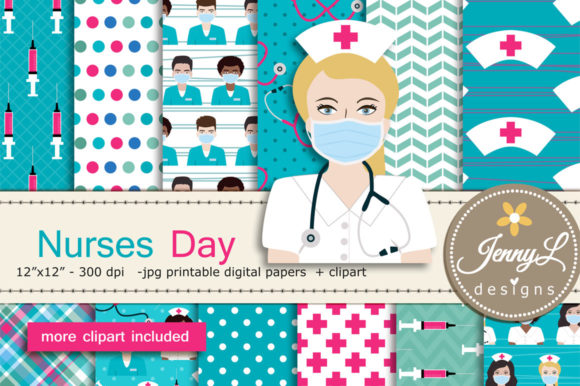 Nurses Day Digital Papers and Clipart Graphic Patterns By jennyL_designs