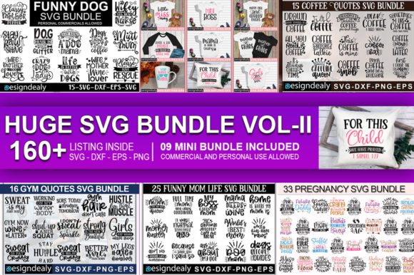 Download Free The Huge Bundle Vol Ii Graphic By Designdealy Com Creative Fabrica for Cricut Explore, Silhouette and other cutting machines.