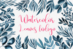 Print on Demand: Watercolor Leaves Indigo Frames Clip Art Graphic Illustrations By PinkPearly