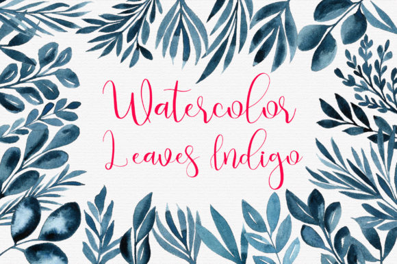 Watercolor Leaves Indigo Frames Clip Art Graphic Illustrations By PinkPearly