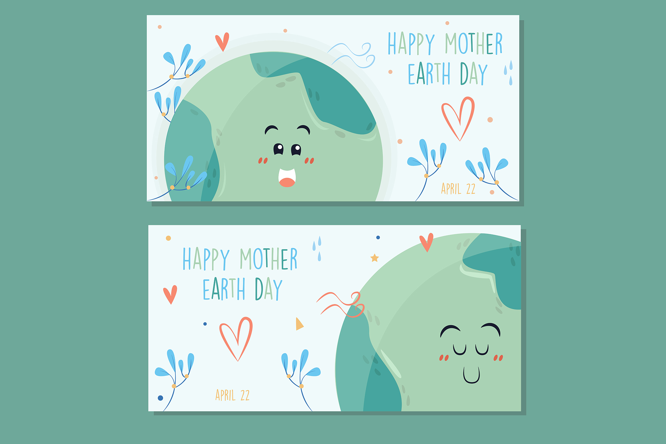 Download Free Mother Earth Day Hand Drawn Banner Pack Graphic By Aprlmp276 for Cricut Explore, Silhouette and other cutting machines.