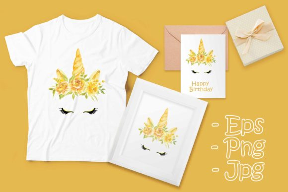 Print on Demand: Unicorn Head with a Yellow Flower Crown Graphic Illustrations By OrchidArt