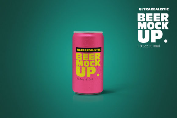 Print on Demand: 10oz Clean Beer Can Mockup Graphic Product Mockups By SmartDesigns