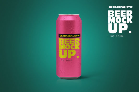 16oz Clean Beer Can Mockup Graphic Product Mockups By SmartDesigns
