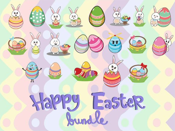 Download Free 20 Easter Bunny And Easter Egg Bundle Graphic By Purplebubble Creative Fabrica for Cricut Explore, Silhouette and other cutting machines.