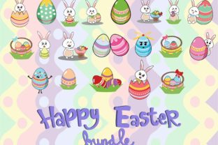 Download Free 20 Easter Bunny And Easter Egg Bundle Graphic By Purplebubble for Cricut Explore, Silhouette and other cutting machines.