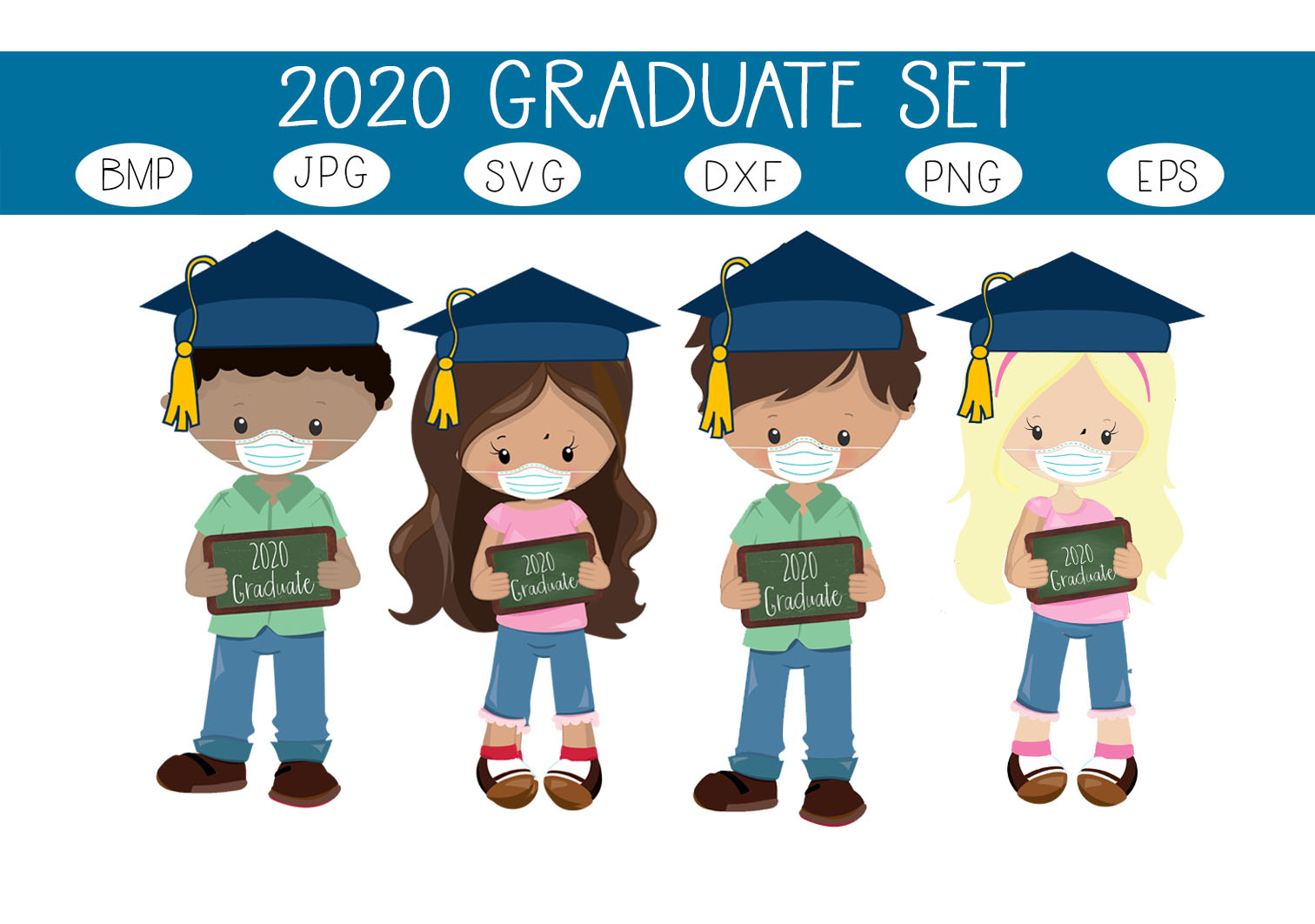 Download Free 2020 Graduates Quarentine Kids Graphic By Capeairforce for Cricut Explore, Silhouette and other cutting machines.