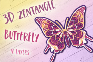 Print on Demand: 3D Zentangle Butterfly Graphic 3D SVG By tatiana.cociorva 1