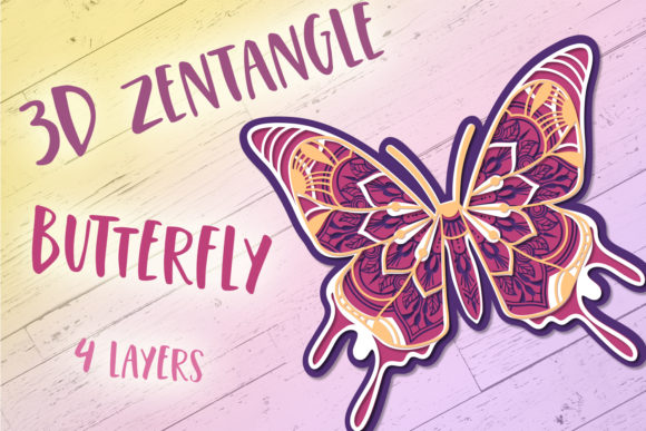 Download Free 3d Zentangle Butterfly Graphic By Tatiana Cociorva Creative for Cricut Explore, Silhouette and other cutting machines.
