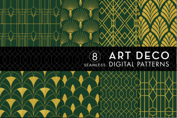 Print on Demand: 8 Art Deco Patterns - Green & Gold Set 1 Graphic Patterns By Eyestigmatic Design