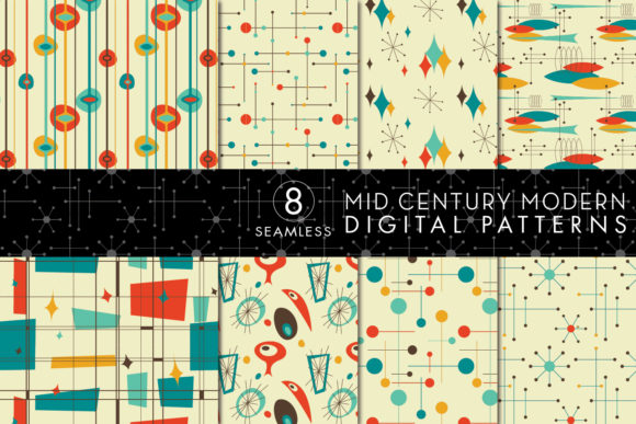 Print on Demand: 8 Mid Century Modern Patterns - Set 5 Graphic Patterns By Eyestigmatic Design