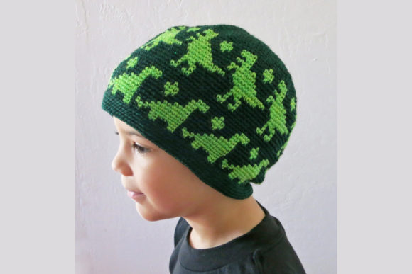 Download Free All Ages Dino Beanie Crochet Pattern Grafico Por Knit And for Cricut Explore, Silhouette and other cutting machines.