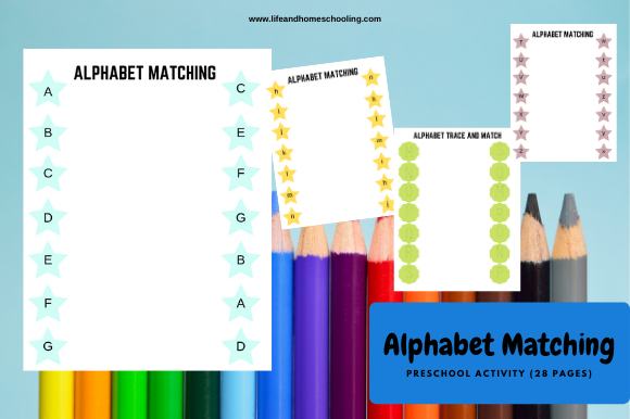 Alphabet Matching Graphic PreK By lifeandhomeschooling
